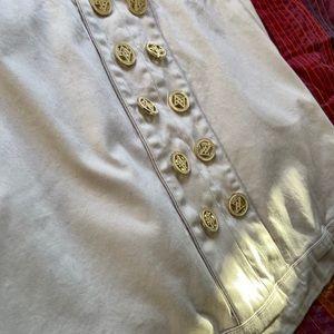 Adrienne Vittadini Skirts - Cream Button Front Miniskirt